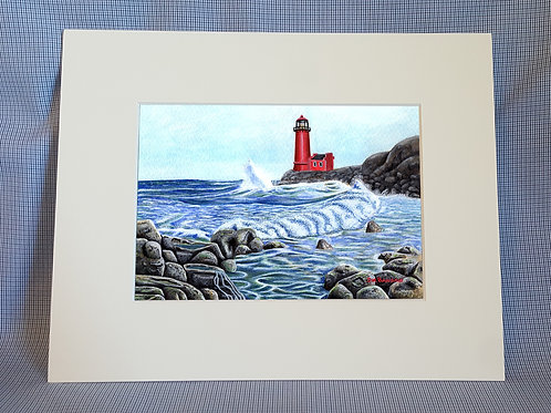 """Lighthouse & Waves"" 8x10 Print"