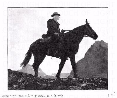 Stephen Mather & Mule at Glacier Lake