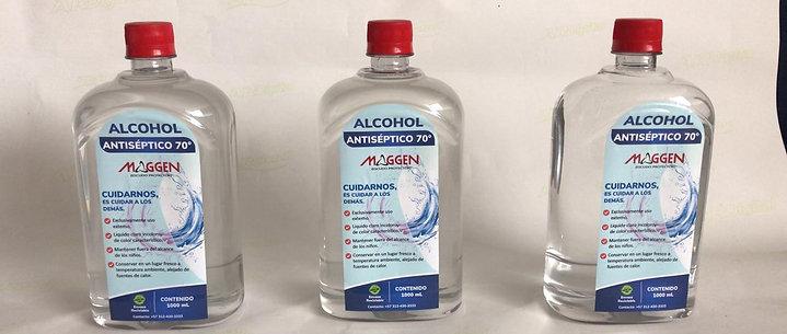 Alcohol antiséptico al 70%, envase 1000 ml, caja c/6 unidades