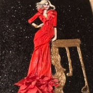 Red Paper Dress Paper and acrylic on canvas