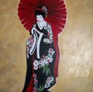 """The Geisha 24"""" x 36"""" Acrylic on canvas"""