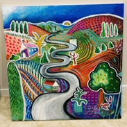 "My Hockney  Acrylic on canvas 36"" x 36"""