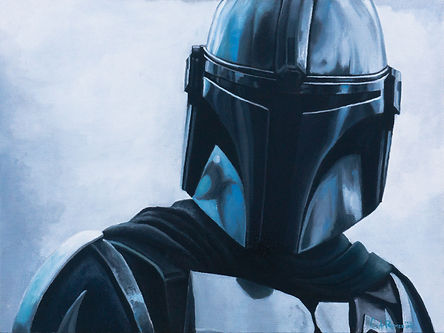 An oil painting of The Mandalorian