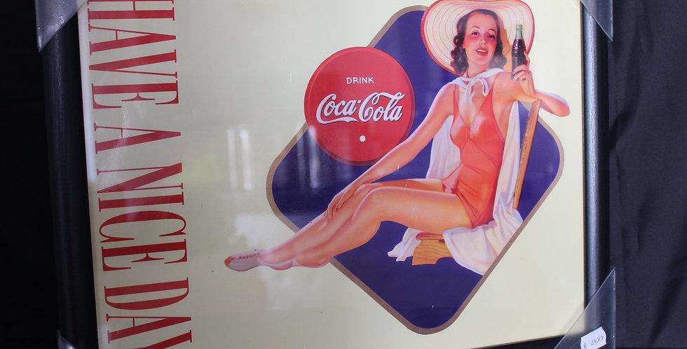 coca cola SCHILDERIJ met dame