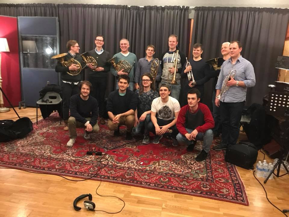 Picture of Alex McGery at the Studio with the band TwoPenny Blue