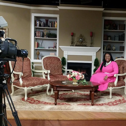 Wura Grant on Set