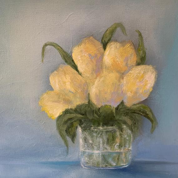Yellow Tulips 10x10 oil $185