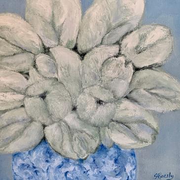 White on Blue 10x10 oil $185