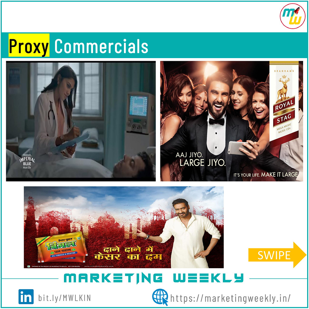Examples of proxy commercials in surrogate marketing