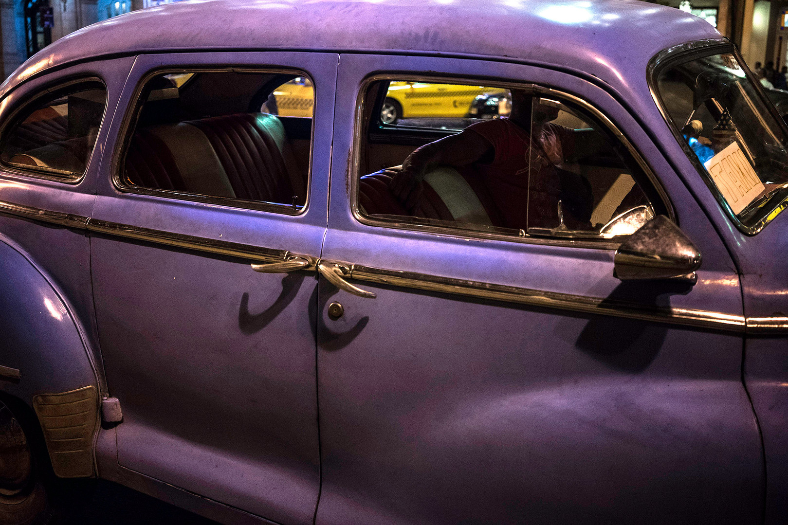 Violet taxi
