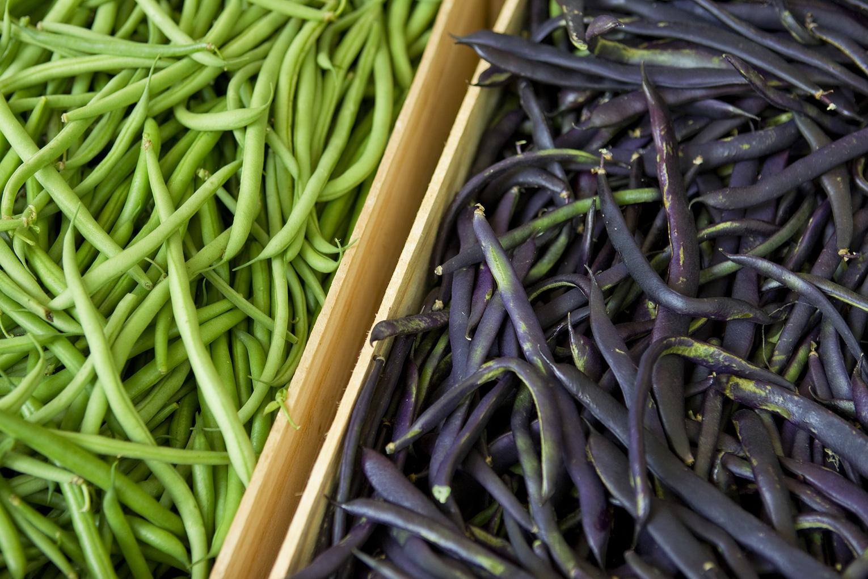 Haricots verts et violets