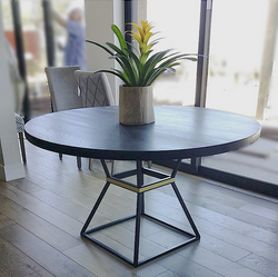WOOD AND BRASS TABLE