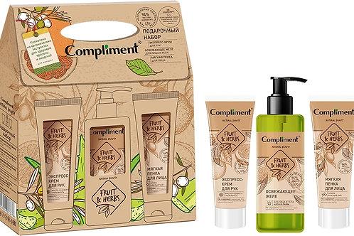 Compliment Fruit&Herbs Подарочный набор: экспресс-крем для рук, 80 мл + же..
