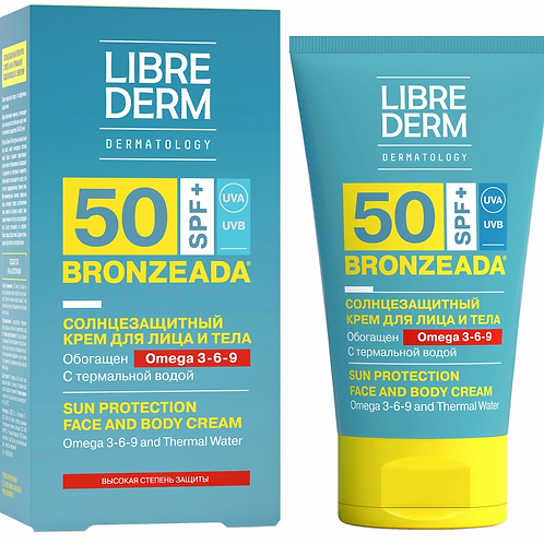 Librederm Bronzeada Солнцезащитный крем SPF50 с Омега 3-6-9 и термальной водой..