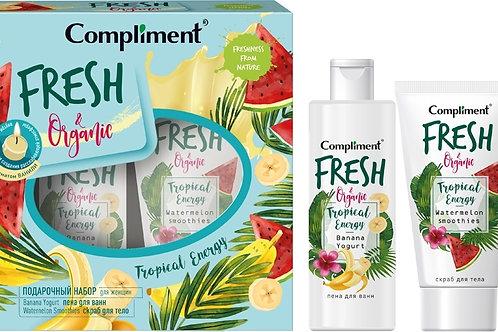 Compliment Tropical Energy Подарочный набор: пена для ванн, 200 мл + скраб для..