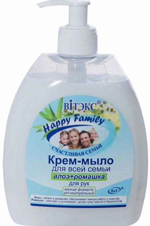 """Витэкс Крем-мыло для рук """"Happy Family. Алоэ и ромашка"""", 500 мл"""