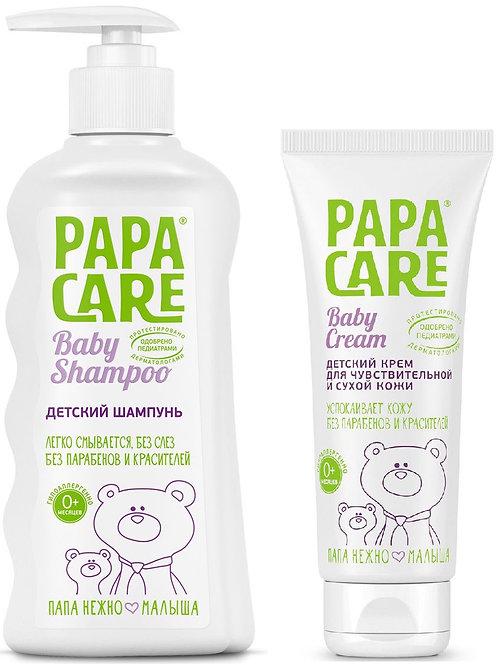 Комплект Papa Care: Детский шампунь для волос 250 мл + крем для чувствительной..