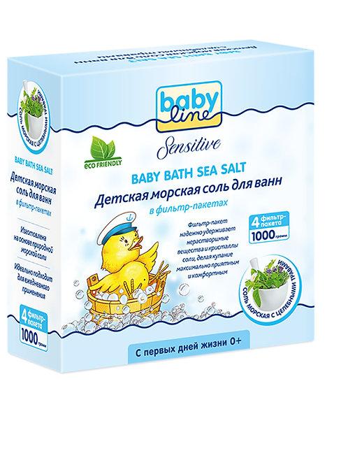 BABYLINE Детская морская соль для ванн с целебными травами, 2000 гр x 2 шт