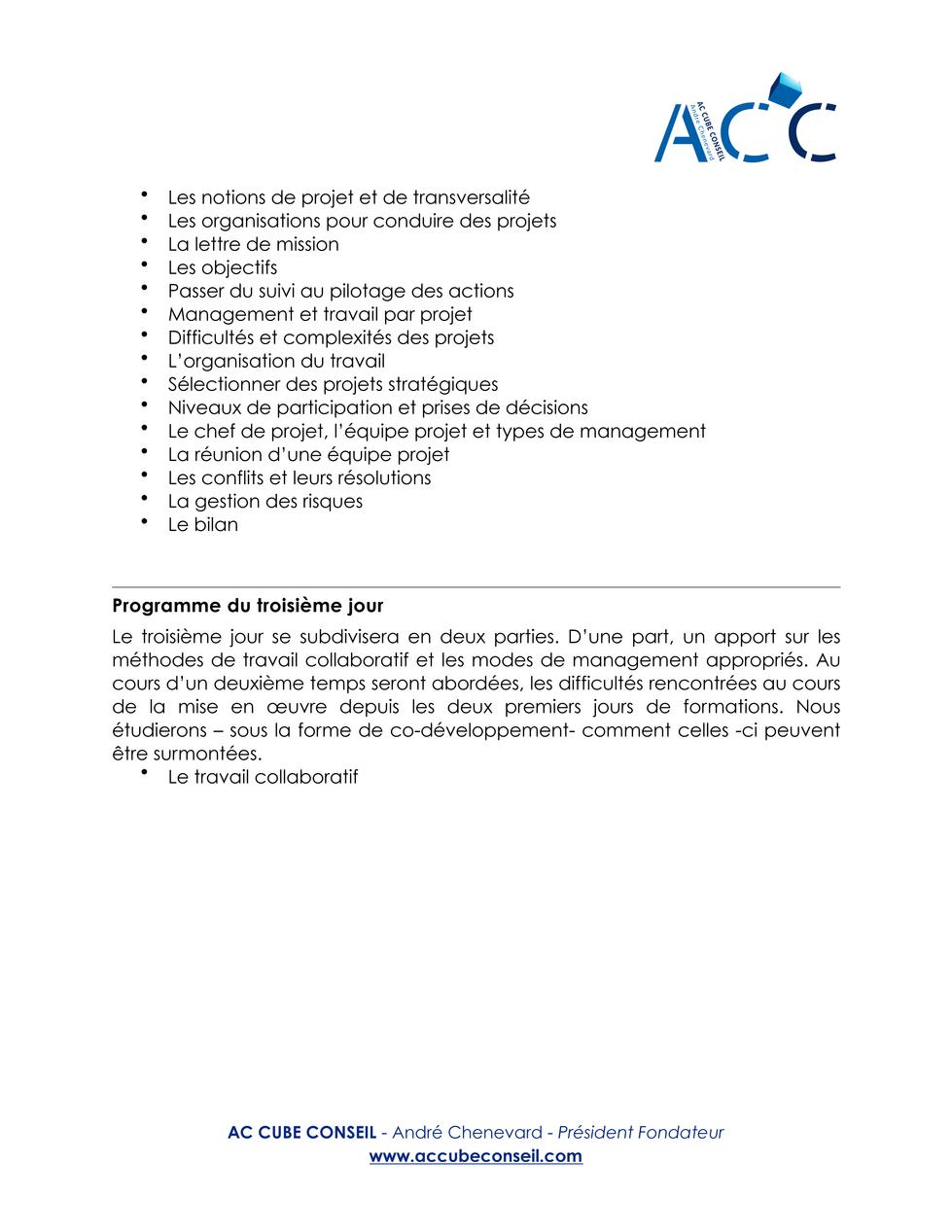 AC CUBE CONSEIL - MANAGEMENT TRANSVERSE_