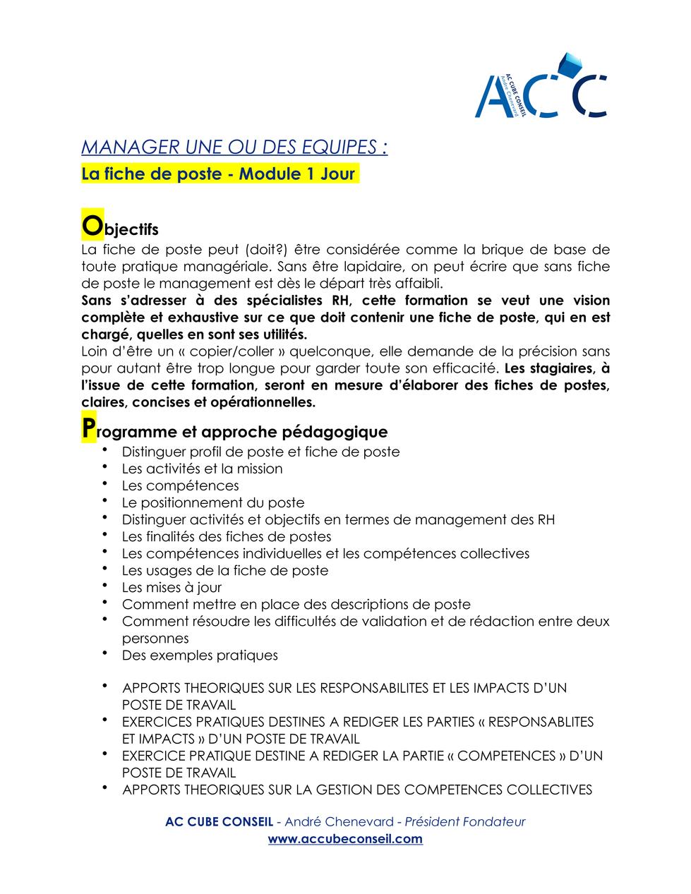 AC CUBE CONSEIL - MANAGER UNE OU DES EQU