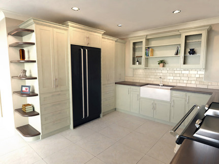Proposed kitchen design with integrated fridge and Belfast sink