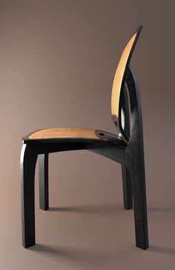 'Copper Leather' chair design with charred hardwood legs
