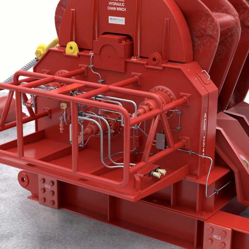 Close-up of hydraulic machinery