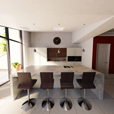 View over the simple, clean kitchen