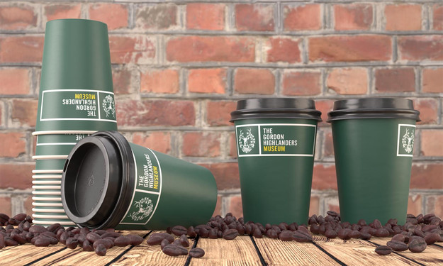 Overview of coffee cups with background