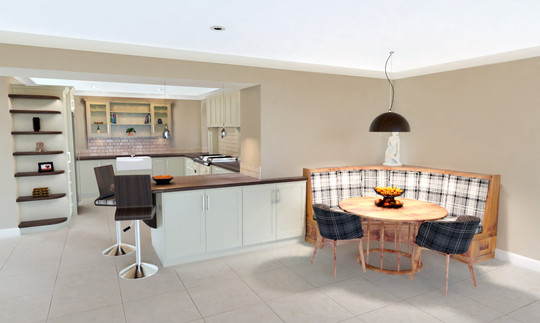 Wide-angle shot of the kitchen showing the main space and seating area