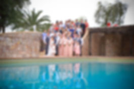 Pool Group Shot Algarve Wedding Palm Tre