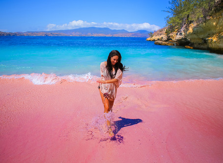 Indonesia's extremely rare pink beach