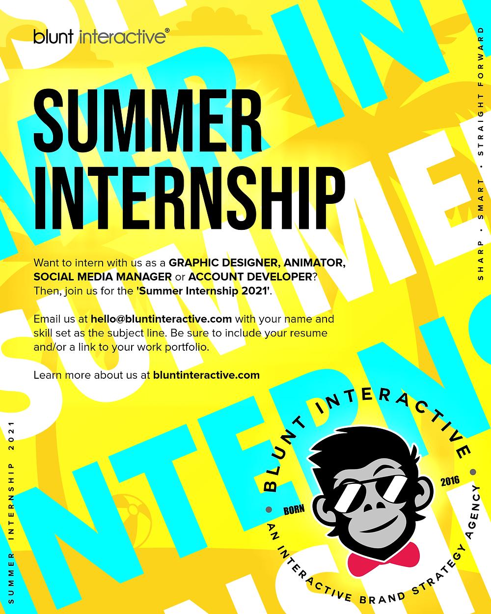Summer Internship 2021 - Blunt Interactive | Bhopal
