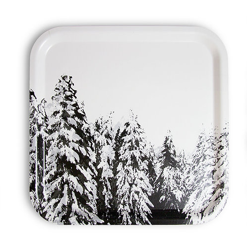 Winter pine trees tray