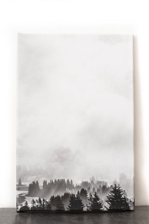 Print on canvas - Fog, forrest and mountains