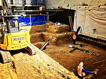Mini Excavator digging subterranean footings