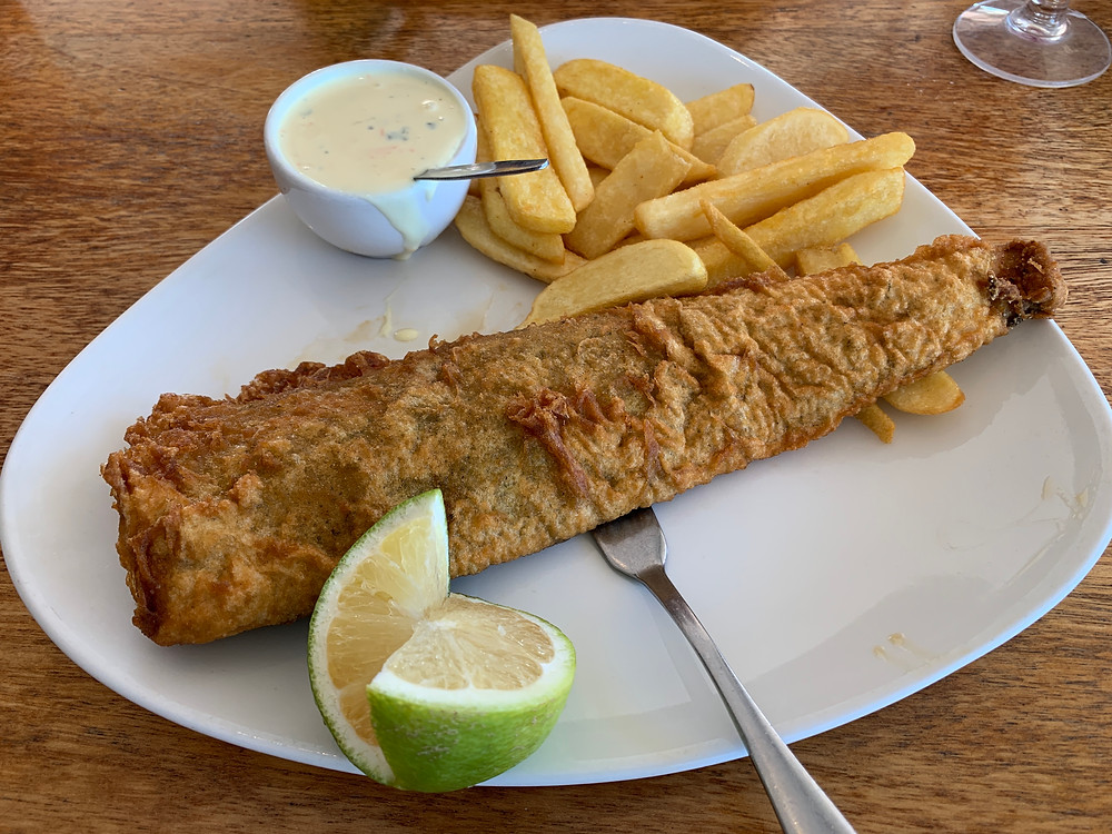 Fish and chips at the Port Alred Ski Boat Club