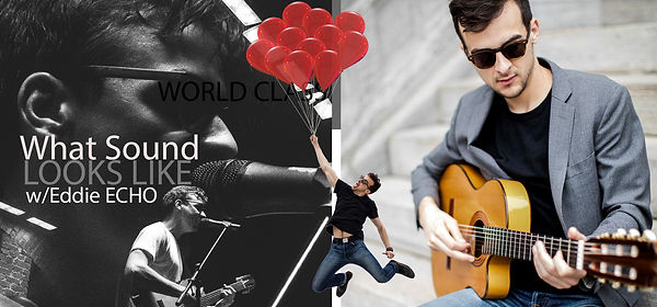 Two Panels on this postcard, the first shows a man sinnging into a micrphonne on stage with a guitar and is seperated from the second panel bt the same man being lifted by a dozen red ballons, the second panel is of the man in a suit playing an guitar. Title included is: WHAT MUSIC SOUNDS LIKE with EDDIE ECHO