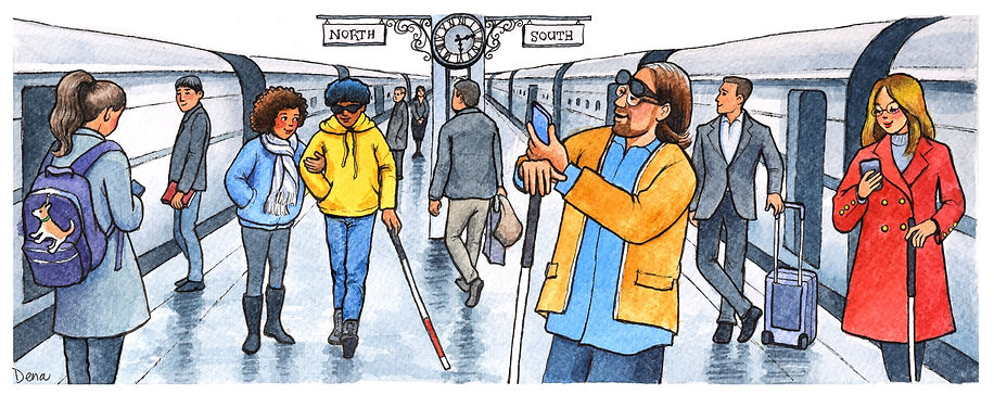 crowded train station with several visually imparied people with white canes but using their eyes to look at something.jpg