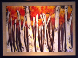 Birch Trees in Reds
