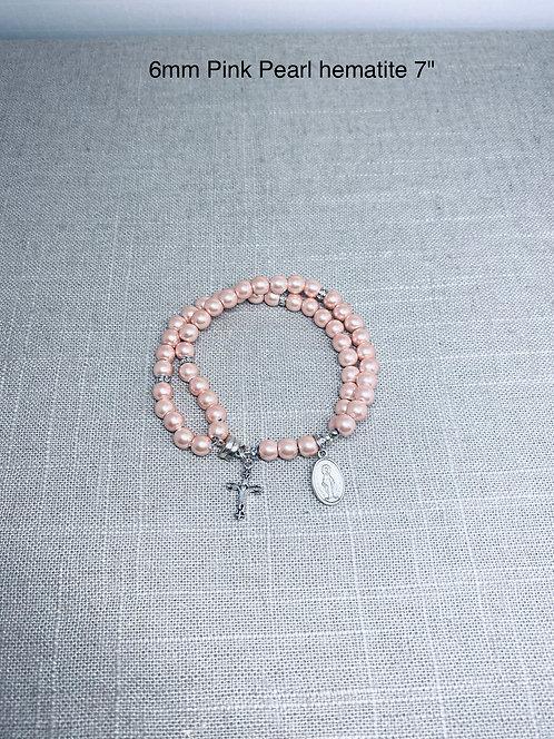 Pearl Pink Hematite 6mm