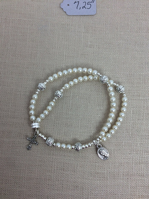 4mm Pearl, Cream, Silver