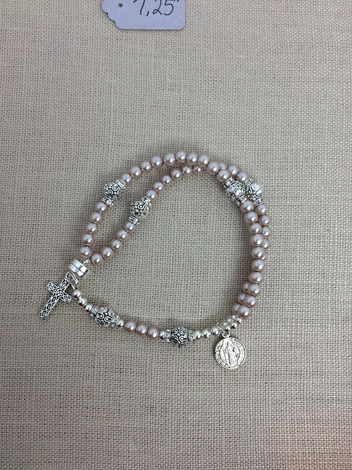 4mm Pearl, Taupe, Silver