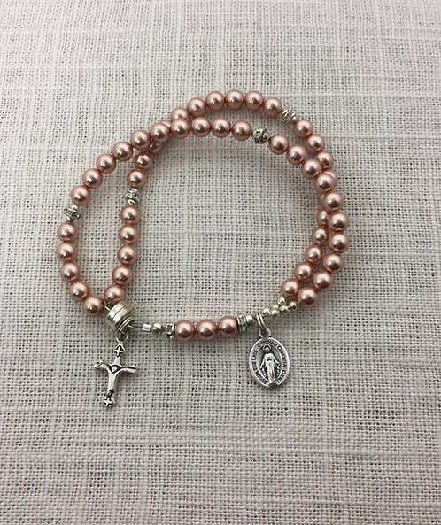 Pearl, Rose Gold,5mm