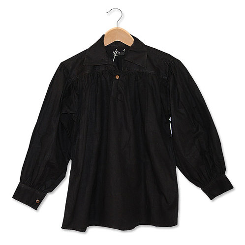 Black Cotton Shirt with Buttoned Neck (GB3024)