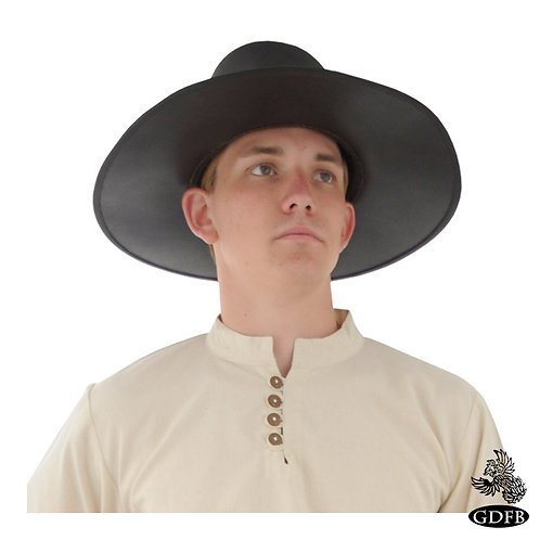Puritan Renaissance Hat with Buckle on Front - Leather