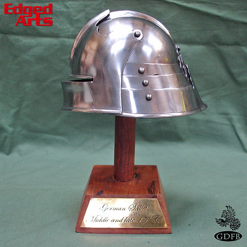 Mini Helmet on Wooden Stand - German Sallet - OB3984