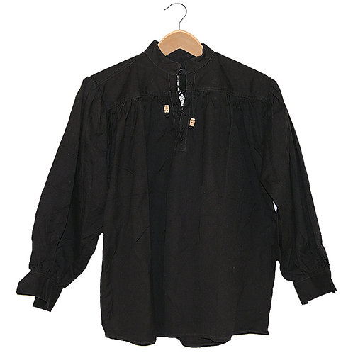 Black Cotton Shirt with Laced Neck (GB3033)