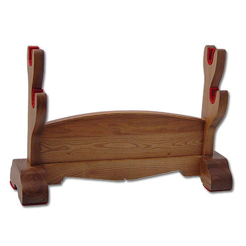 Double Sword Stand, Natural Wood - OH2104
