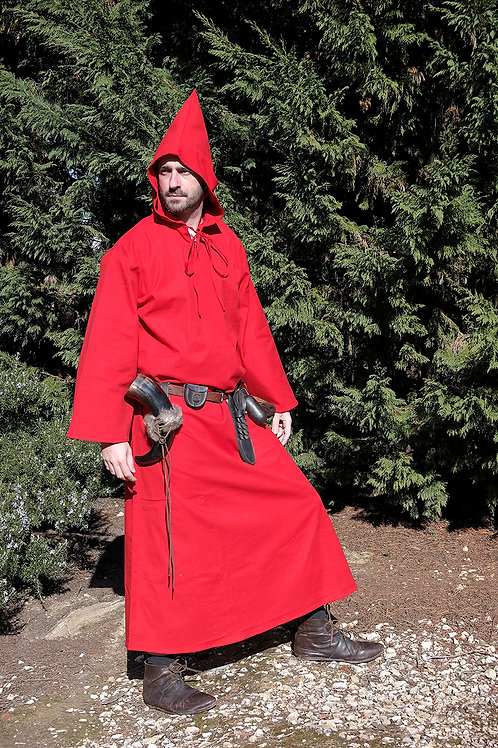 Medieval Hooded Cloak - Cotton - Red - GB4012